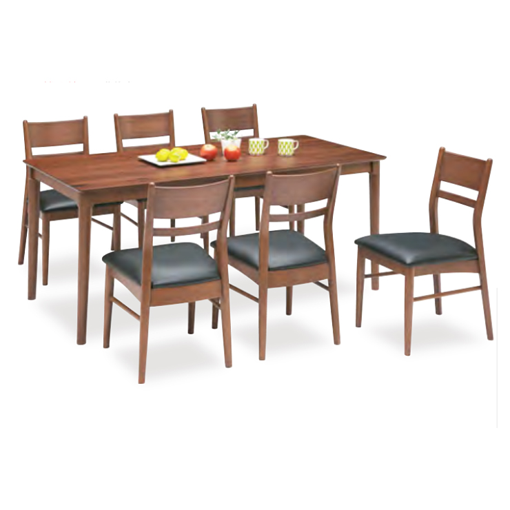 ダイニングテーブルセット ダイニングセット 7点セット 6人掛け 6人用 食堂セット 食卓テーブルセット ダイニング7点セット・カフェテーブルセット 六人掛け 六人用 木製 北欧風 ブラウン