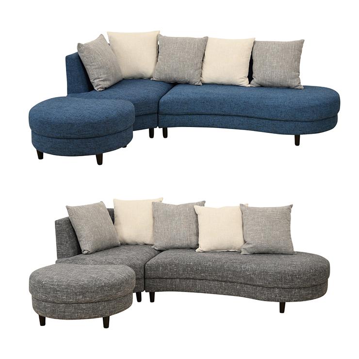【室内搬入設置無料】カウチソファー 布張り 3人掛け 北欧風 ブルー グレー