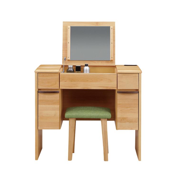 ドレッサー 鏡台 化粧台 どれっさー スツール付き ナチュラル 木製 北欧 デスク