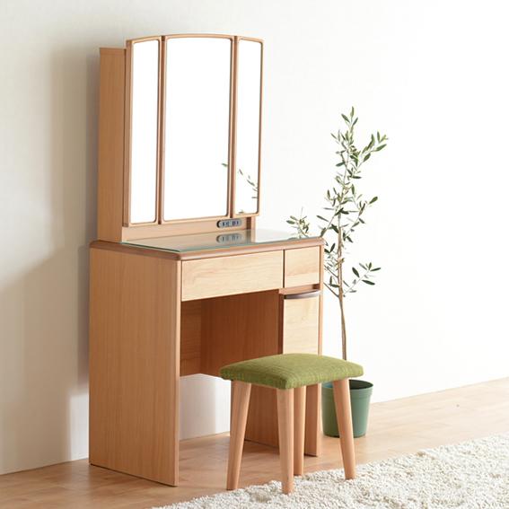 ドレッサー 鏡台 化粧台 どれっさー スツール付き ナチュラル 木製 北欧 3面鏡