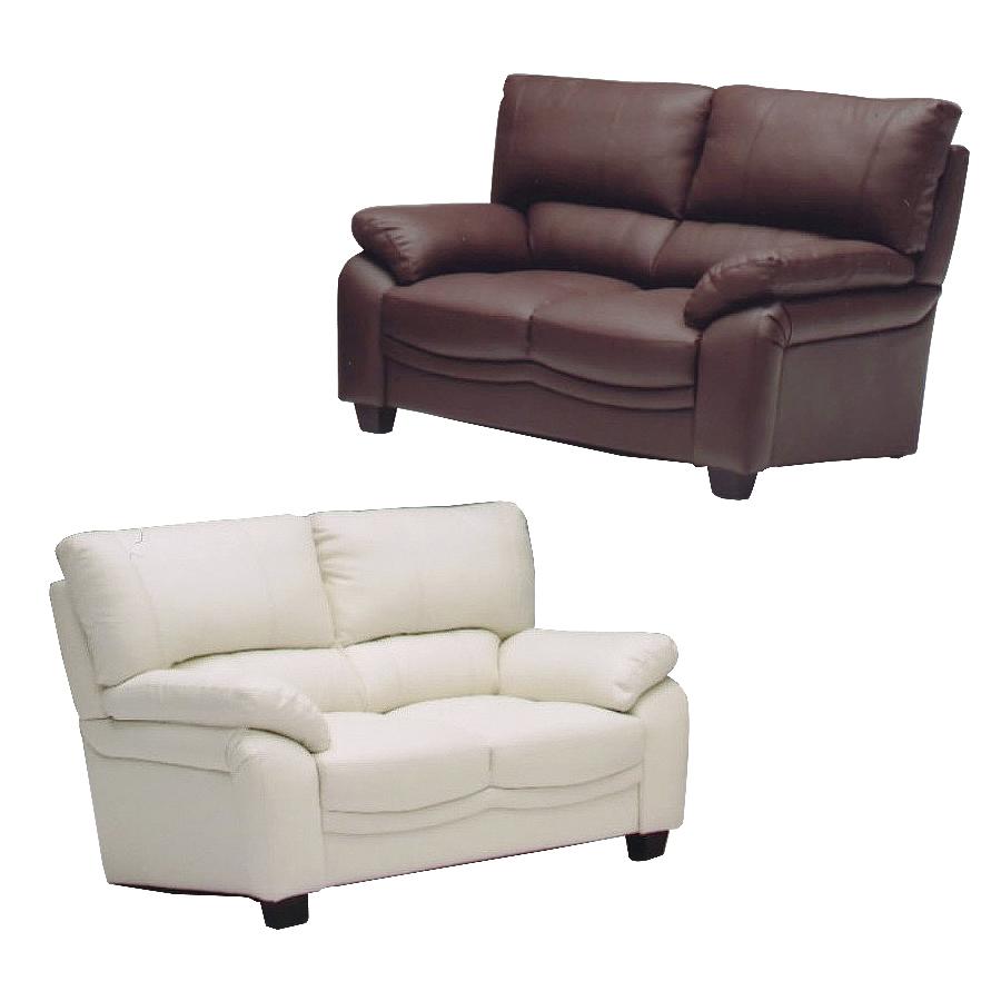 2人掛けソファー 約幅150cm ダークブラウン ホワイト 白 革張り製 モダン風 2人用ソファー 二人掛けソファー 二人用ソファー ラブソファー そふぁー ダブルソファー コンパクトソファー