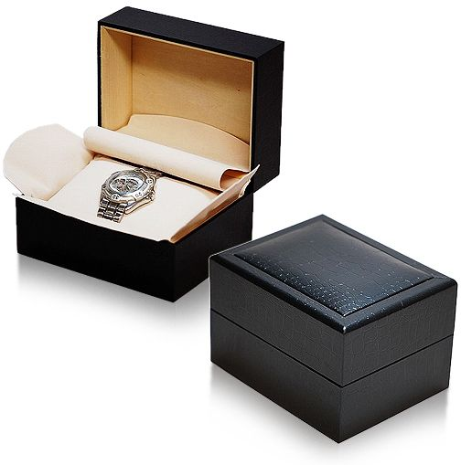 IGIMI 時計1本用ボックス 黒クロコ模様  時計に優しいやわらか~い包み布付 IGIMI 時計1本用ボックス 黒クロコ模様  時計に優しいやわらか~い包み布付 6点セット【ig-zero26a-1】【ig-zero26A-1-6】