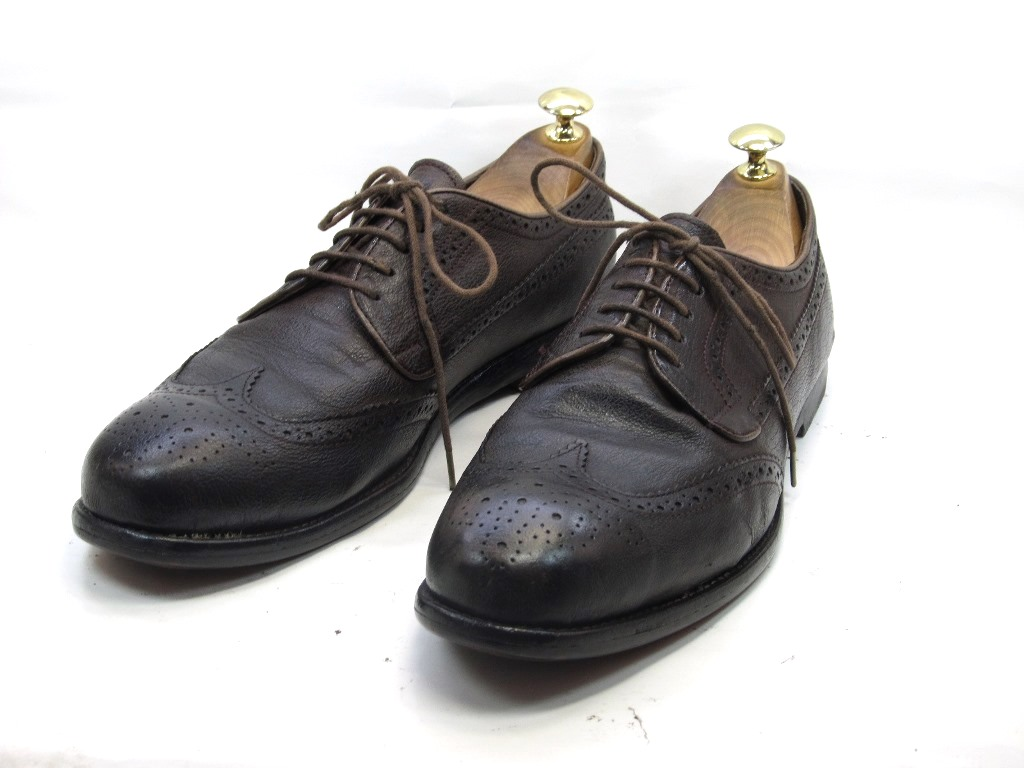 【中古】【送料無料】上級グレード-Church's (チャーチ)7.5 / (26.0cm~26.5cm) イタリア製・ウイングチップメンズシューズ 紳士 靴 ビジネス カジュアル メンテナンス済