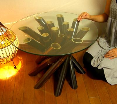 アジアン家具 バリ (ブラックバンブーロールガラステーブル(M)) ダイニング 丸テーブル ガラス 木製 バンブー エスニック リゾート