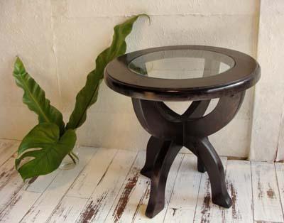 4月中旬入荷予定 サイドテーブル ナイトテーブル おしゃれ ガラス 丸 木製 (CAラウンドガラステーブル) アジアン家具 バリ チーク材 エスニック リゾート