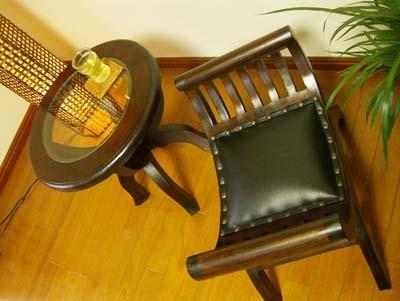 4月中旬入荷予定 アジアン家具 バリ (CAラウンドガラステーブル&カルティニチェアS SET) サイドテーブル 丸 ガラス スツール チーク材 エスニック リゾート