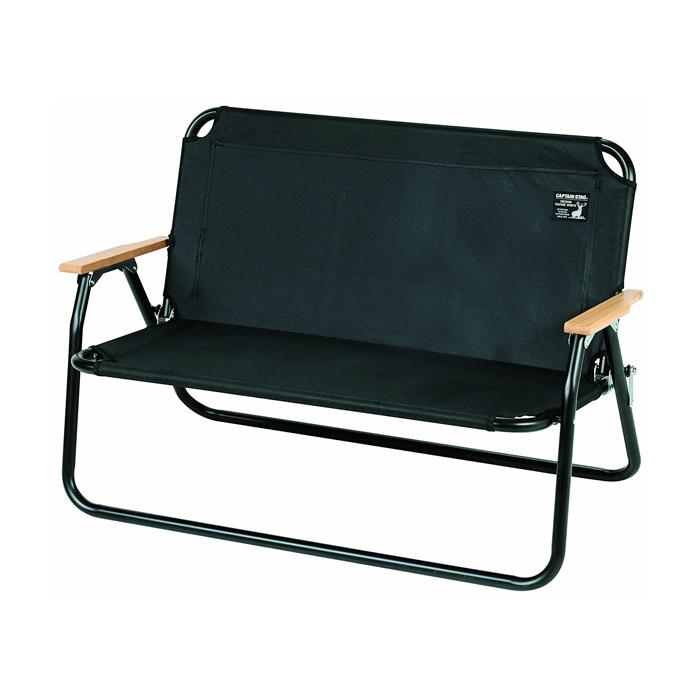 【頑張って送料無料!】キャプテンスタッグCSブラックラベル アルミ背付ベンチ ブラック 黒丈夫で軽量なアルミ製二人用折りたたみ椅子UC-1660ロースタイルチェア アウトドア キャプスタ