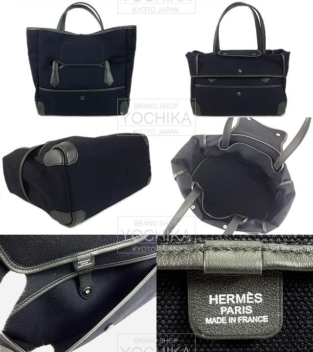 "HERMES Hermes 2way Tote ""path path 35"" Marin X black toile-Gull X Varenne new unused (""Passe Passe 35"" HERMES Tote Bag Marine/Noir Toile Goeland/Barenia [Never used], [Authentic]) # I'm Chika"