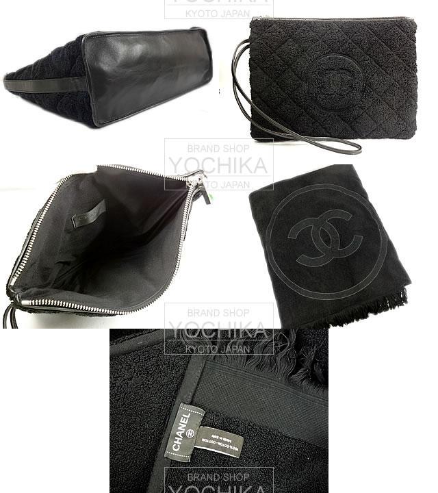 CHANEL Chanel reversible Beach Big beach towels (blanket) & pouch with black pile × calfskin A73306 brand new (CHANEL Beach Bag with Beach Towel & Pouch Black A73306) #yochika