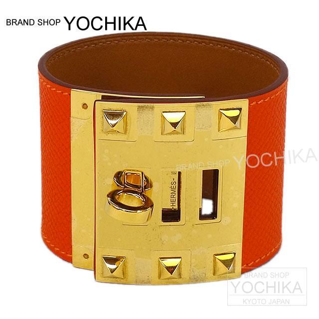 """Epson gold hardware brand new HERMES Hermes bracelet Bangle 'Xtreme' #S four Orange HERMES Bracelet Bangle """"Extreme"""" #S Feu Orange Epsom [Brand New] #yochika"""