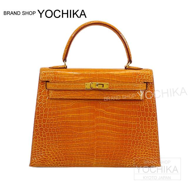 HERMES Hermes bag Kelly 25 outside seam #yochika saffron crocodile Porosus gold bracket a. ([Pre-loved] HERMES Bag Kelly 25 Sellier Safran Crocodile Porosus Shiny Gold Hardware USED A)