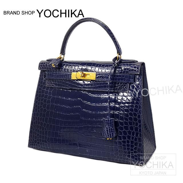 HERMES bags Hermes Kelly 28 outside sewn blue Safir prothesshiny gold bracket B rank ([Pre-loved] HERMES Bag Kelly 28 Sellier Blue Saphir Porosus Shiny GHW USED B) #yochika