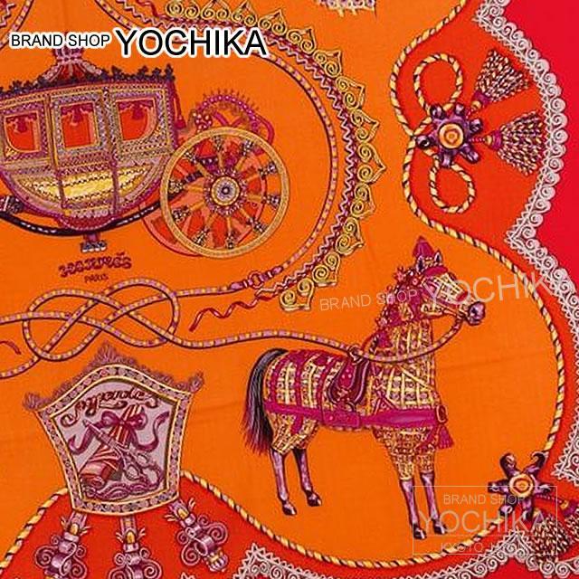 "HERMES Hermes shawls scarves 140 ""Paperoles"" Rouge X Orange cashmere 70% silk 30% new (NEW HERMES Shawl Carre 140 ""Paperoles"" Rouge/Orange Cashmere70% Silk 30%) # I'm Chika"