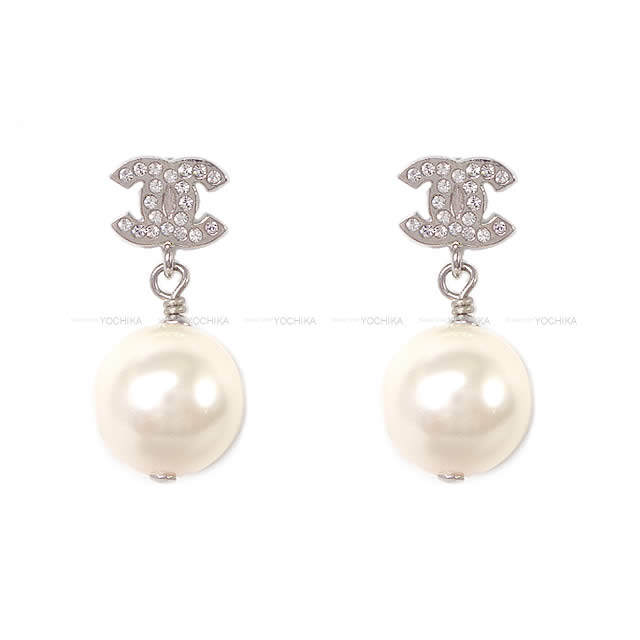 Rhinestone Pierced Earrings Silver A36138 New Article Chanel Cocomark Pearl Pierce Yochika With The Here Mark