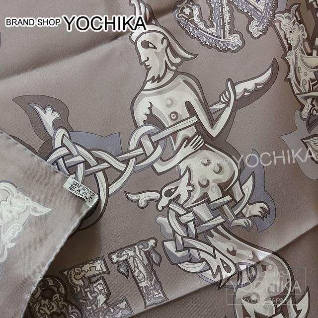 "HERMES Hermes scarves 90 scarf ""Alphabet Russe"" grease X Pearl Grey (grisperl) X white silk brand new as well as ([Pre-loved] HERMES Carre Scarf ""Alphabet Russe"" Gris/Gris Perle/Blanc [USED-Mint]) # I'm Chika"