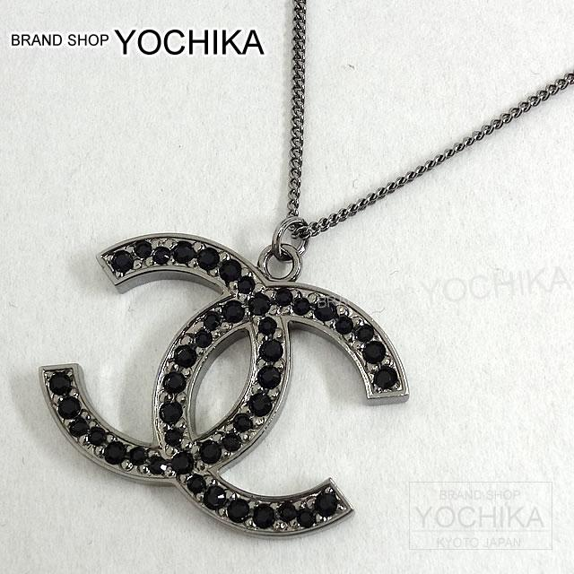 Chanel Big Cc Marked Black Stone Pendant Necklace Silver X A60216 Brand New Mark