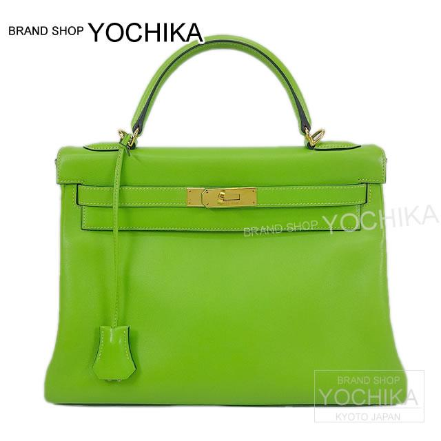 HERMES Hermes bag Kelly 32 in sewing Apple green Volga River gold bracket a. ([Pre-loved] HERMES Bag Kelly 32 Retourne Apple Green Veau Gulliver GHW USED A) # I'm Chika