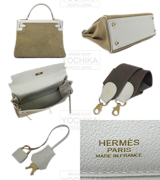 HERMES Hermes bag Kelly 32 in Amazon Pearl gray X grisaille ever color X Grizzly champagne gold hardware brand new (HERMES handbags Kelly 32 Retourne Amazon [Brand new], [Authentic]) # I'm Chika