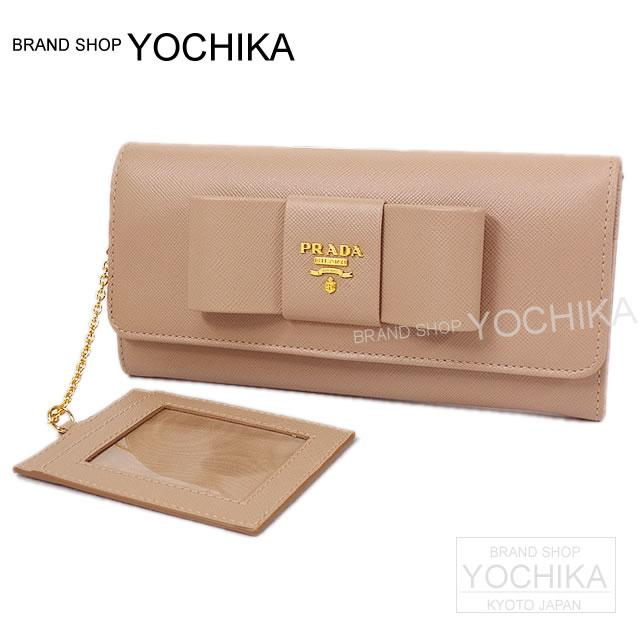 "PRADA Prada Ribbon wallet ""saffiano fiocco"" case with Cameo beige saffiano calf 1 m 1132 brand new PRADA WALLET SAFFIANO FIOCCO RIBBON MOTIF with PASS CASE CAMMEO 1 m 1132 NEW # I'm Chika"