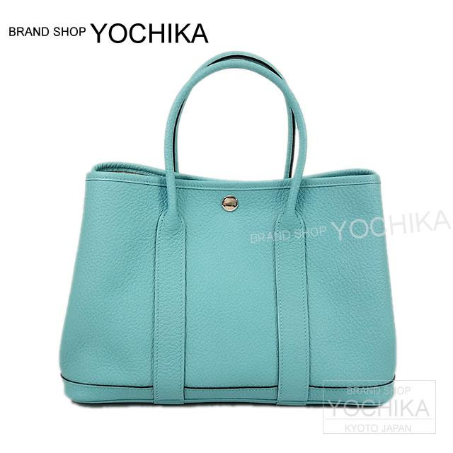 By 2015, new HERMES Hermes blue atoll 30 TPM/yellow garden party Buffalo leather (Alesa type press) new (2015 S/S HERMES totebags Garden Party 30 TPM Bleu Atoll [Brand New]) # I'm Chika