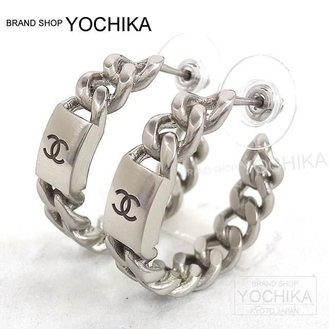 By 2018 New Chanel Big Chain Plates Coco Make Loop Earrings Silver A85629 Brand