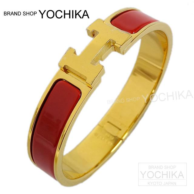 Rouge Hermes Bracelet Bangle Click Ash Clic H Pm X Gold New Roue Old Brand Authentic I M Chika