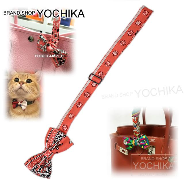 "By 2015, new HERMES Hermes tie bowtie CHOW TI Ribbon bag ""Papillon"" pink x white silk 100% brand new (HERMES Bow tie Bagcharm ""Papillon"" Pink/White Silk100% [Brand New], [Authentic]) #yochika"