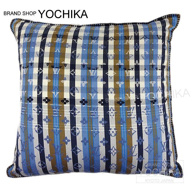 "LOUIS VUITTON路易威登靠墊""kusan·交織字母馬德拉斯""藍色羊毛X棉布M75592新貨(Cushion""Coussin Monogram Madras""Bleu Laine/Cotton M75592[Brand new][Authentic])#yochika)"