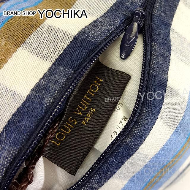 "LOUIS VUITTON Louis Vuitton cushion ""Kusan Monogram Madras"" blue wool X cotton M75592 brand new (Cushion ""Coussin Monogram Madras"" Bleu Laine/Cotton M75592 [Brand new], [Authentic]) # I'm Chika"
