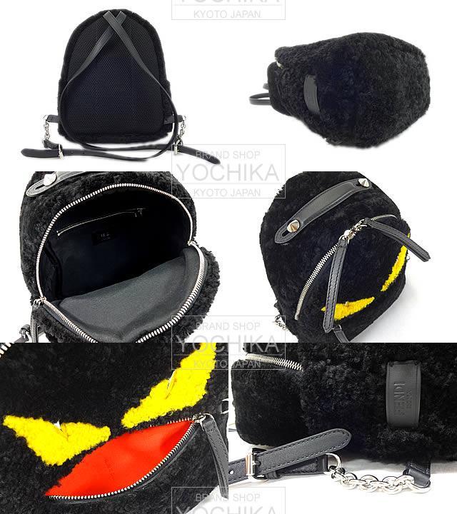 FENDI Fendi mini backpack bag bags Monster backpack black X yellow X red genuine Mongolian 8BZ036 brand new FENDI Mini Rucksack backpack Monster Bag Bugs Black/Yellow/Red Sheep Fur 8BZ036 [Brand New], [Authentic], #yochika