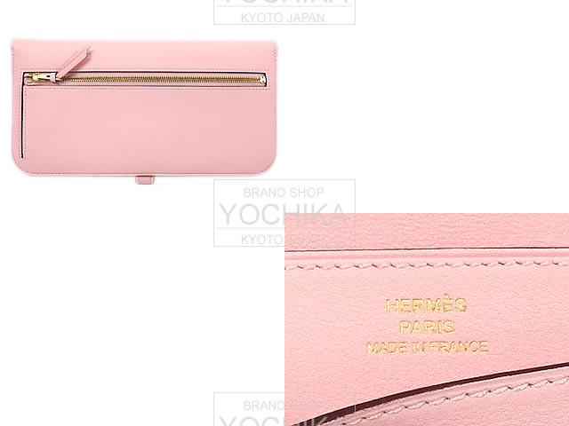 HERMES Hermes long wallet Dogon long rose Sakura swift gold bracket new HERMES Dogon Long Wallet Rose sakura Swift first #yochika