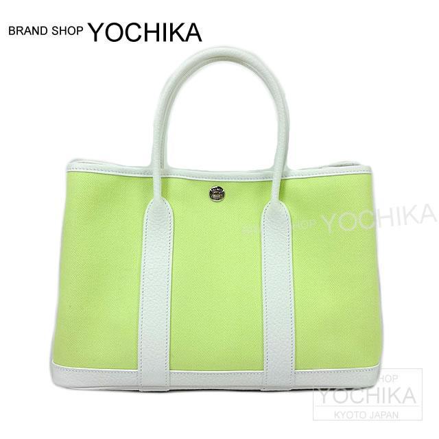 Hermes Handbag Garden Party Tpm 30 White X Lime Toilophyshe Vash Country New