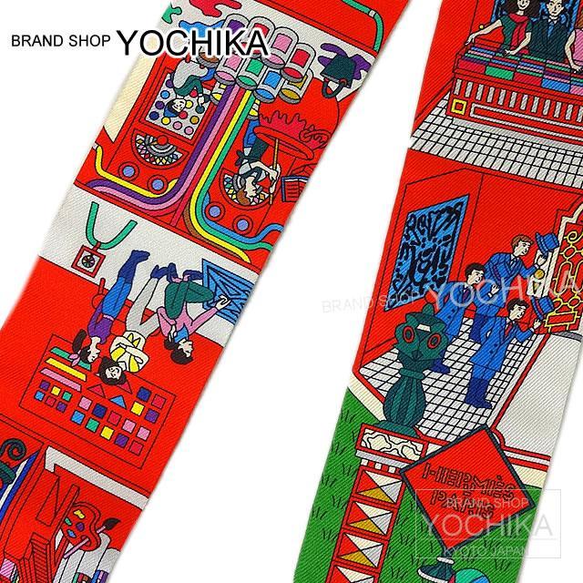 HERMES Hermes twirly scarf (Rougevif Bluevif Vert HERMES Twilly Scarf