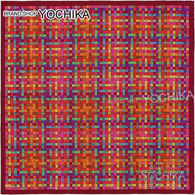 "HERMES Hermes scarf scarves 90 Bolduc ""health check"" Bordeaux X Orange X violet silk #yoccika 100% brand new (HERMES Carre 90 Scarf ""Bolduc au Carre"" Bordeaux/oranige/Viollet)"