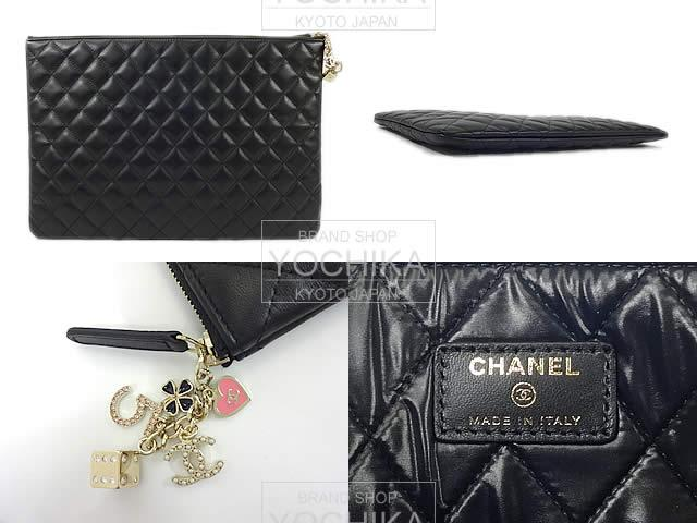 2016 years limited edition CHANEL Chanel Casino charm matelasse clutch Pouch Black (black) A82416 (the 2016 Limited CHANEL Matelasse Casino Charm CLUTCH POUCH Black) brand new # I'm Chika