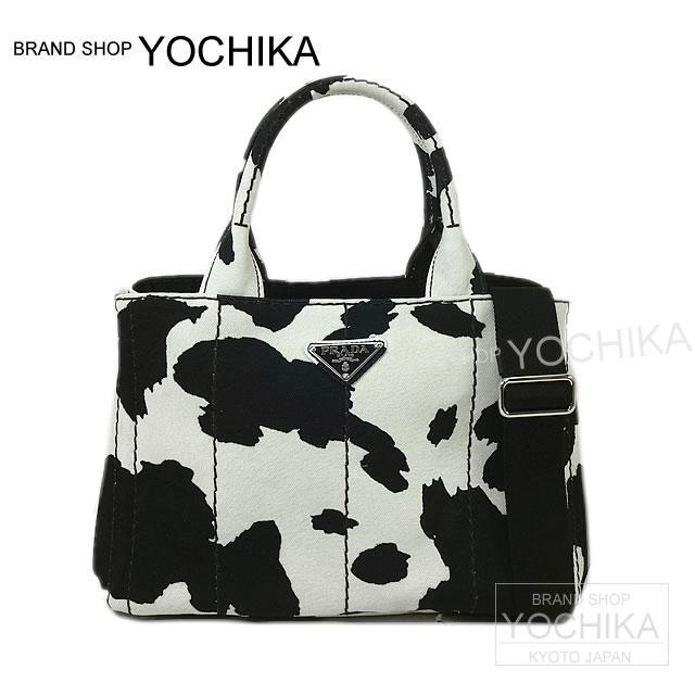 58c839de1397 Cow pattern black X white 1BG439 new article (PRADA CANAPA mini Tote bag  cow- ...