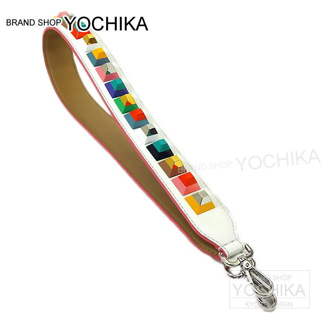 "FENDI Fendi studded shoulder strap ""strap you"" ice white X multicolor 8AV077 new unused (Studs Shoulder Strap Strap You Ice White/Multi-color 8AV077 Never used) # I'm Chika"