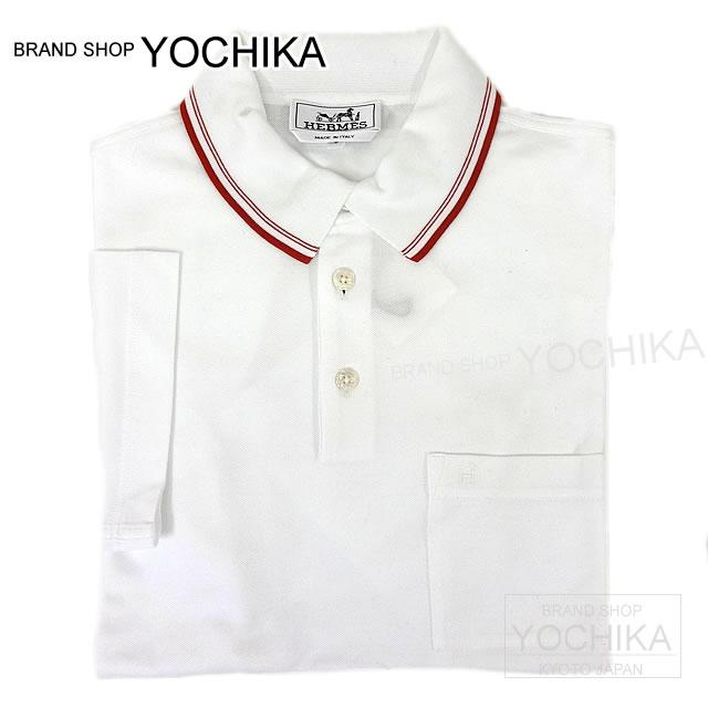 65a41cf1e Polo shirt #S white X rouge cotton new article (HERMES Men's Line Polo Shirt  ...