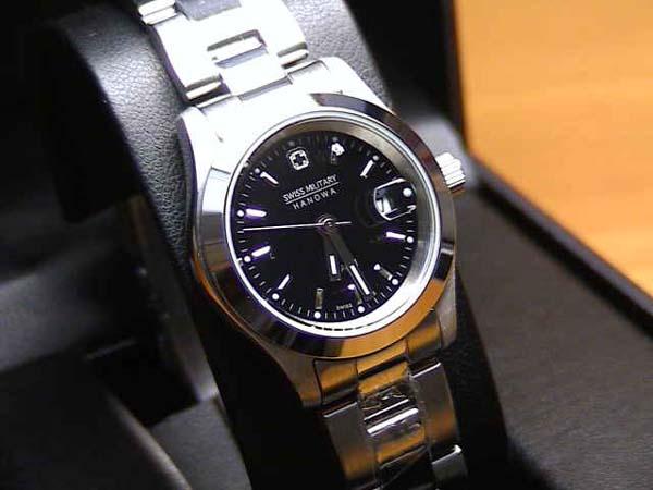スイスミリタリー 腕時計 エレガント ML101 レディース 27mm 【文字盤カラー ブラック】 ☆日本全国=北は北海道、南は沖縄まで送料580円でお届けけします☆