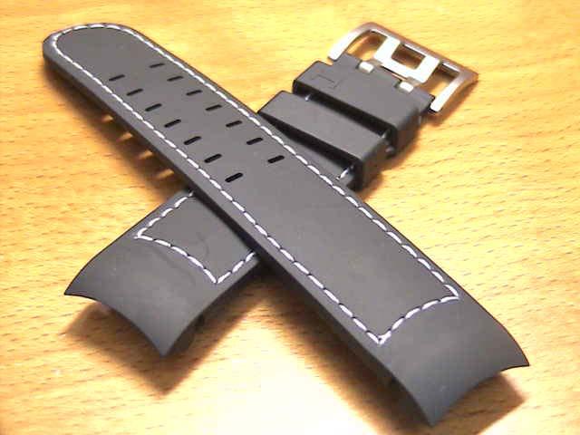 ハミルトン ベルト 時計 カーキ X-WIND & AVIATION QNE用 ラバー 時計バンド 時計ベルト 交換バンド 黒色 ブラック 22mm HAMILTON H600776106