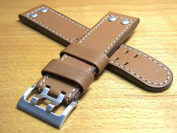 ハミルトン ベルト 時計 カーキ X-WIND & AVIATION QNE用 交換バンド 牛革 時計バンド 茶色 ブラウン 22mm HAMILTON H600776103