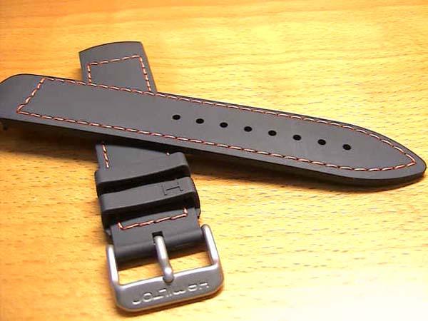 HAMILTON ハミルトン 純正時計バンド ベルト カーキ GMT エアレース用 黒 ブラック ラバー オレンジ色ステッチ 21mm H600776118