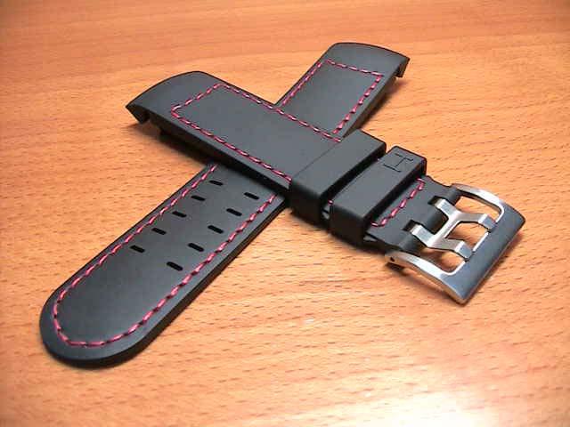 HAMILTON☆ハミルトン☆カーキ X-WIND & AVIATION QNE用 ラバー 時計バンド 時計ベルト 交換バンド 黒色 ブラック 22mm H600776117
