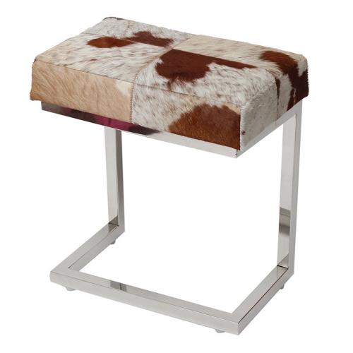 レザー スツール カーフ 牛革 毛革 角形 チェア イス オットマン サイドチェア アイアンスツール 玄関スツール