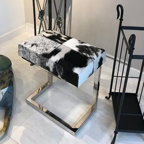 レザー スツール 牛革 毛革 角形 チェア イス オットマン サイドチェア アイアンスツール 玄関スツール