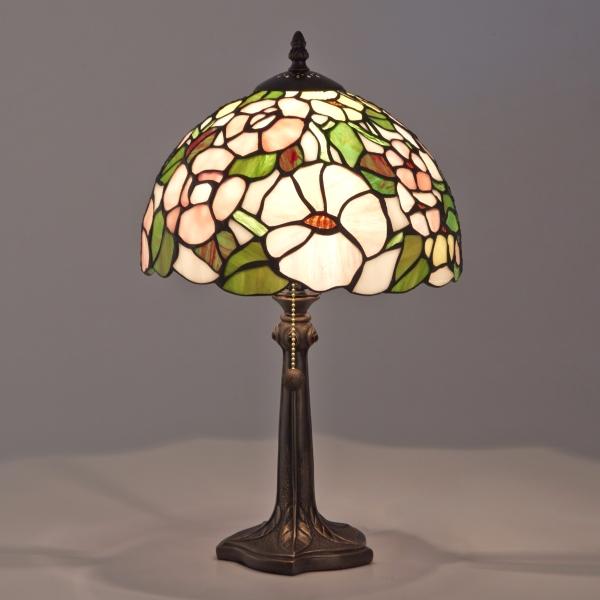 ステンドグラスランプ アネモネ 花柄 グリーン系 ティファニー 卓上ライト ステンドグラス お洒落 インテリア