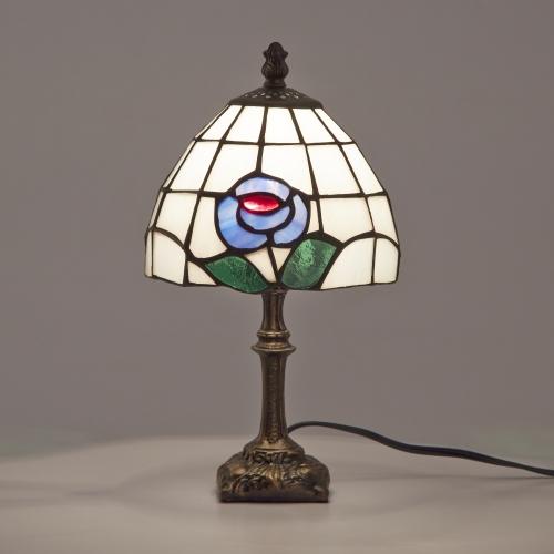 ステンドグラスランプ テーブルランプ アンティーク 小型 花柄 ブルー ステンドランプ ステンドガラス 卓上照明 間接照明