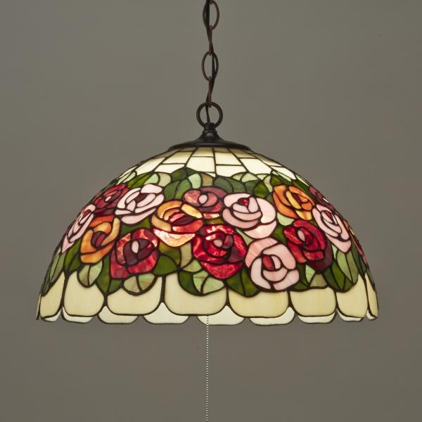 ペンダントランプ ステンドグラス アンティーク 3灯 サークルローズ 天井照明 吊り型 吊下げ 薔薇 ステンドガラス 御祝 店舗 照明器具