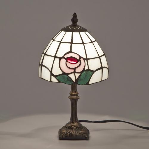 ステンドグラスランプ テーブルランプ アンティーク 小型 花柄 ピンク ステンドランプ ステンドガラス 卓上照明 間接照明