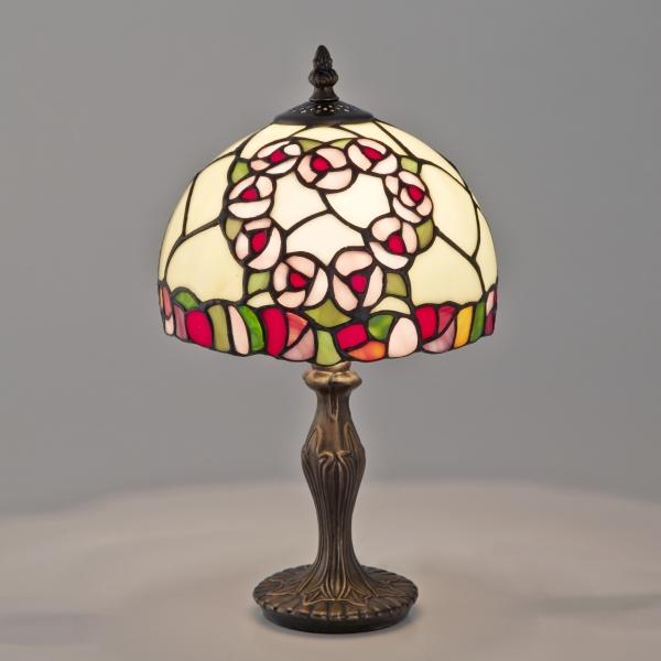 ステンドグラス テーブルランプ 卓上ランプ ティファニー 照明器具 ハートローズ 薔薇 花柄 お洒落 インテリア オブジェ ディスプレイ ギフト 御祝 新築祝